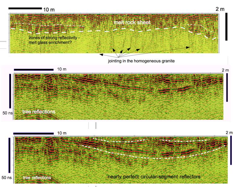 schüsselförmiger Radarreflektor im Granit Bach
