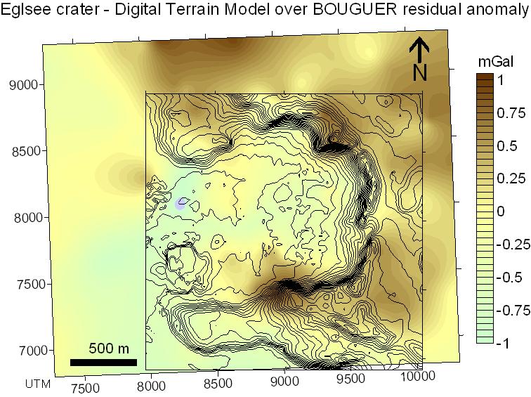 Digitales Geländemodell über Schwerekarte der Gravimetrie